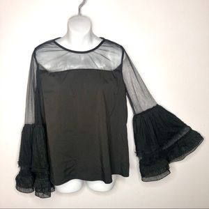Forever 21 Ruffle Tulle Circle Flounce Sleeve Top